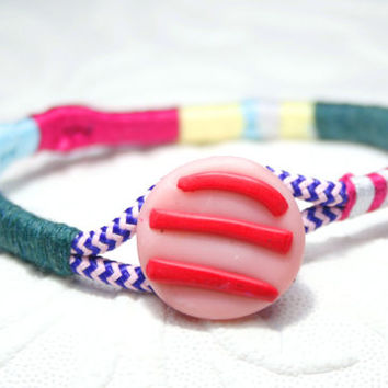 Wrap Bangle, Color block bracelet, woven bangle, braided bracelet, Rope bangle, Colorful bracelet, Multicolor bangle, Button bracelet