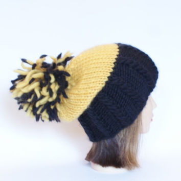 Irish handknit black and yellow team supporter hat slouchy hats with pompom fun knitted wool hats for adult teenager child chunky yarn