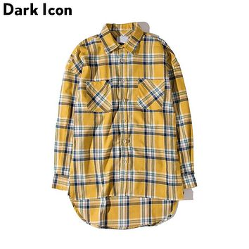 Flannel Plaid Shirt Men Hip-hop Shirt Streetwear Oversized Curved Hem Hipster Men's Shirt Long Sleeve Clothing