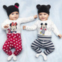 2014 New cotton children Mickey Minnie baby boys girls 3 pcs clothing set  Long sleeved baby Rompers hat pants newborn bodysuits - Default