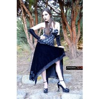 Black Velvet Gothic Assimetric Skirt, Vampire