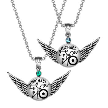 Archangel Michael Magic Planetary Amulets Set Angel Wings Royal Green Sky Blue Crystals Pendant Necklaces