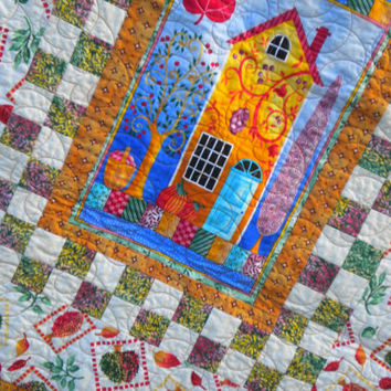 Fall Quilted Wall Hanging, Housewarming Quilt, Cat quilted wall art, cat crib quilt, Home Sweet Home, autumn color, new home house gift