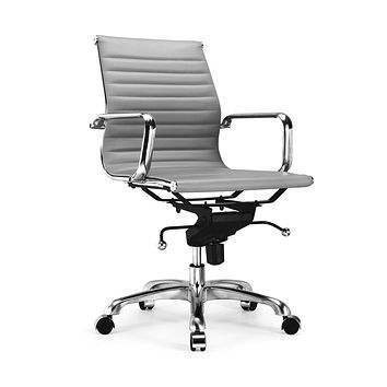 Century Grey Modern Classic Aluminum Office Chair (Set of 2)