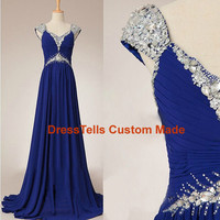 Royal Blue prom dress / Royal Blue long Prom Dress / Beaded Evening Dress / Party Dress / /Homecoming Dress/Graduation Dress/Formal Dress