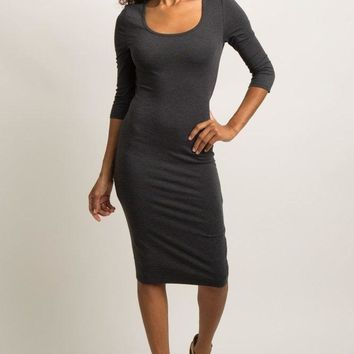 Isabella Charcoal Ruched Midi Dress