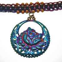 Flower Hemp Choker: Rainbow Metal Rose, Muted Rainbow and Black Hemp, Nature Jewelry