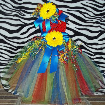 For Autism Month - Our Rainbow Puzzle Piece Tutu Dress w/Matching Headband