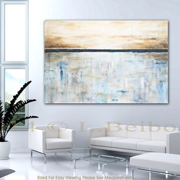 XXL abstract painting 46 x 68 large original modern contemporary art big blue cream abstract oil painting schilderij by L. Beiboer