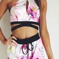 Print  Halter Neck Two Piece Set