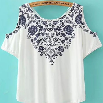 White Floral Print Neckline Cut-Out Sleeve V-Cut Back Top