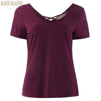 Kate Kasin Women T Shirt 2017 Summer Fashion Bandage Sexy V Neck Criss Cross Top Casual Lady Female T-shirts Plus Size Lady Tees