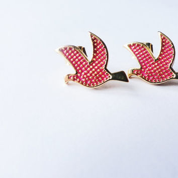 Pink Bird Earrings jewelry best friend birthday unique gift women accessories gift for girl turkish arabic christmas