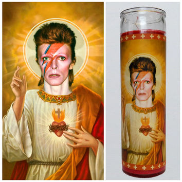 "David Bowie Prayer candle. Saint Bowie! Great gift! Premium Handmade 9"" Soy Candle!"