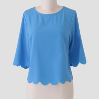 Deep Blue Skies Scalloped Blouse