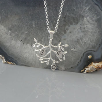 FamilyPersonalized Tree Pendant - 925 Sterling Silver - Personalized Initials, Tree Monogram Jewelry Christmas Gift