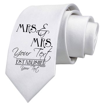 Personalized Mrs and Mrs Lesbian Wedding - Name- Established -Date- Design Printed White Necktie