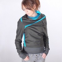 Womens Dark green Sweater with Turquoise Details by bevisible