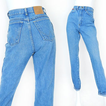 Vintage 80s High Waisted Women's Wrangler Jeans - Size 4 - Slim Fit Tight Tapered Faded Blue Jeans - 25 Waist