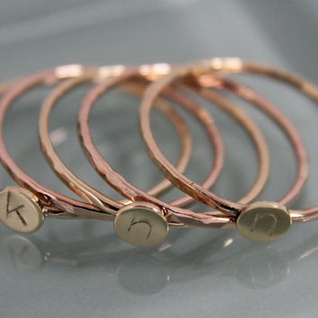 Stack of Five - 3 Tiny Dot Ring 2 Simple Bands SOLID 14k Gold Sparkly Band  Circle Disc Stacking Hammered Monogram Initial Mother Set