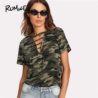 ROMWE Strappy Choker Neck Camo Tee 2018 New Arrival Short Sleeve Casual Ladies Top Summer Round Neck Cut Out T Shirt