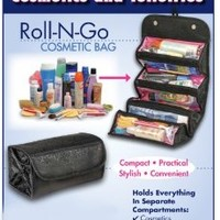 "4 COMPARTMENT ""ROLL N' GO"" COSMETIC/TOILETRY/JEWELRY BAG"