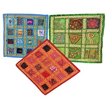 Mogul Indian Embroidered Cushion Cover Throw Ethnic Embroidered Patchwork Pillows Covers - Walmart.com