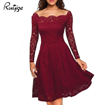 2017 Robe Femme Sexy Vintage Floral Lace Dress Women Elegant Long Sleeve 60s Retro Style Rockabilly Swing Wedding Party Dress