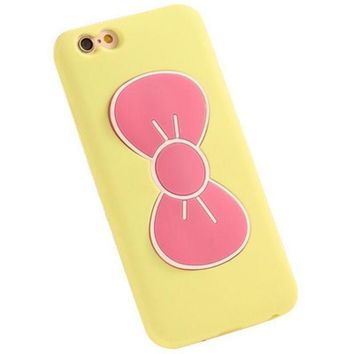 PEAPUNT iPhone 6 6S Cute Bow Phone Case (Pink & Yellow)