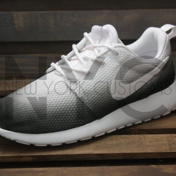 Faded Nike Roshe One Run White Black Custom