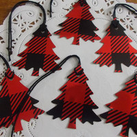 Red and Black Plaid Christmas Tree Gift Tags - Red Shimmer FOIL Die Cuts - Favor Tags - Set of 10 Tags