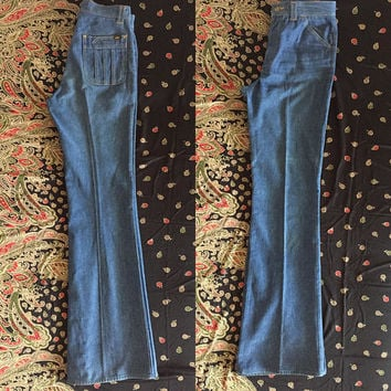 Vintage 70s Lee Denim High Waisted Bell Bottom Jeans S28