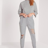 Missguided - Ripped Front Joggers Grey Marl