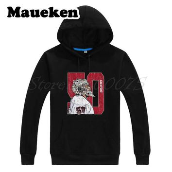 Men Hoodies Corey Crawford Sketch 50 Chicago Sweatshirts Hooded Thick Lace-up for blackhawks fans gift Autumn Winter W17100605
