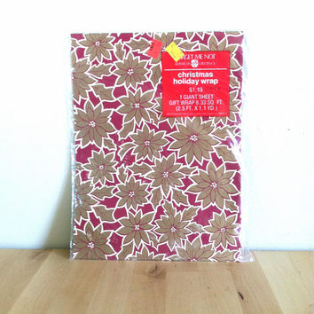 Christmas Poinsettia Holiday Wrap, American Greetings Gift Wrapping Paper Ephemera {1960s} Vintage Wrapping Paper