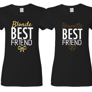 Blonde and Brunette Best Friends Girl BFFS T-shirts