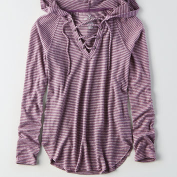AEO Soft & Sexy Plush Lace-Up Hoodie, Purple