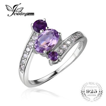 JewelryPalace 925 Sterling Silver 0.9ct Natural Amethyst 3 Stone Anniversary Ring Women Party Fine Jewelry 2016 Brand New