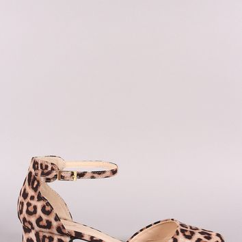 Qupid Leopard Pointy Toe Ankle Strap Blocked Heel Pump