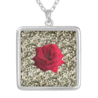 Red Rose Baby's Breath Silver Plated Necklace