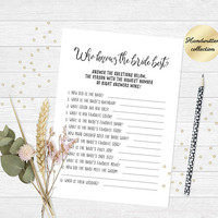 How well do you know the bride game, Funny bridal shower game, Who knows the bride best game, Printable bridal shower game, Tea party game