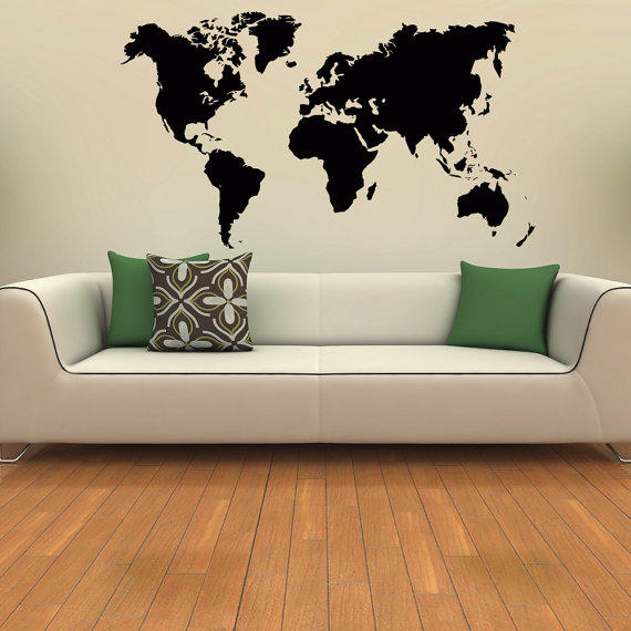 World map wall decal geographical world from coolvinyldesign on world map wall decal world map vinyl sticker travel geographical vinyl design geography gumiabroncs Images