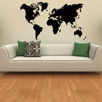 World Map Wall Decal- World Map Vinyl Sticker- Travel Geographical Vinyl Design- Geography Gift Living Room Office Bedroom Home Decor 0037