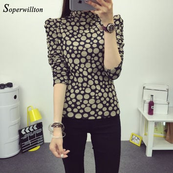Soperwillton New Autumn Polka Dot Tee Shirt Women Long Sleeve Turtleneck T Shirt Female Casual Slim Fit T-Shirts Femme Top #C954