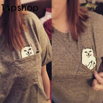 Cat Lovers Pocket T shirt Funny Cat With Middle Finger Women Tee Casual Tops