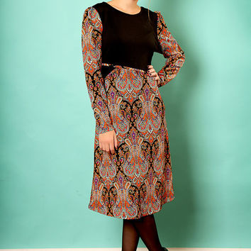 Black A line dress – Long sleeve dress - Modest  dress with paisley print