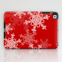 Red snowflakes iPad Case by Silvianna