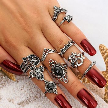 GIVVLLRY 10 pcs/Set Elephant Knuckle Rings for Women Vintage Tibetan Silver Color Fatima Hand Crown Big Stone Totem Rings Set