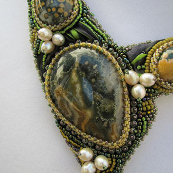 Shibori Embroidered Necklace Beaded with Ocean Jasper and Pearls Forest shades
