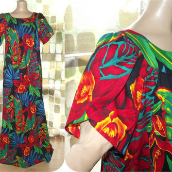 Vintage 80s Dress | 1980s Hawaiian MuuMuu | Hilo Hattie | Colorful Tropical Floral Orchids | Size Large